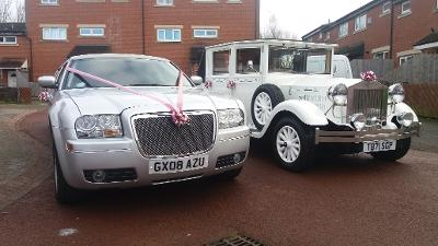 Chrysler 8 seat limousine and vintage wedding cars Stockton, wedding cars Darlington, vintage wedding car hire Middlesbrough.